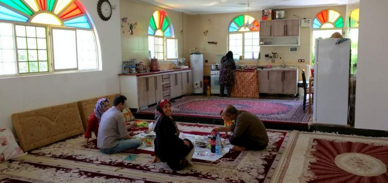 Eating at the home of Asgar & Kayhan Azizi, Kakareza, Lorestan, Iran