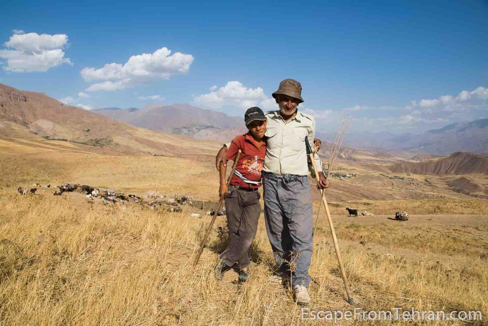 Shepherd and assistant, near Alamut Castle, Qazvin Province, Iran.