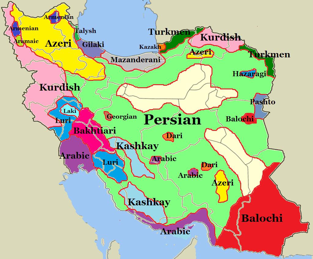 Iran language map