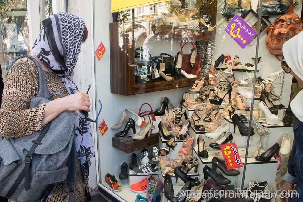 Shoe store in the trendy Tarbiat Street of Tabriz, northwest Iran.
