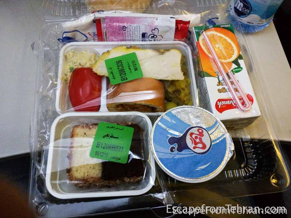 Food on Meraj Airlines flight, Shiraz to Tehran