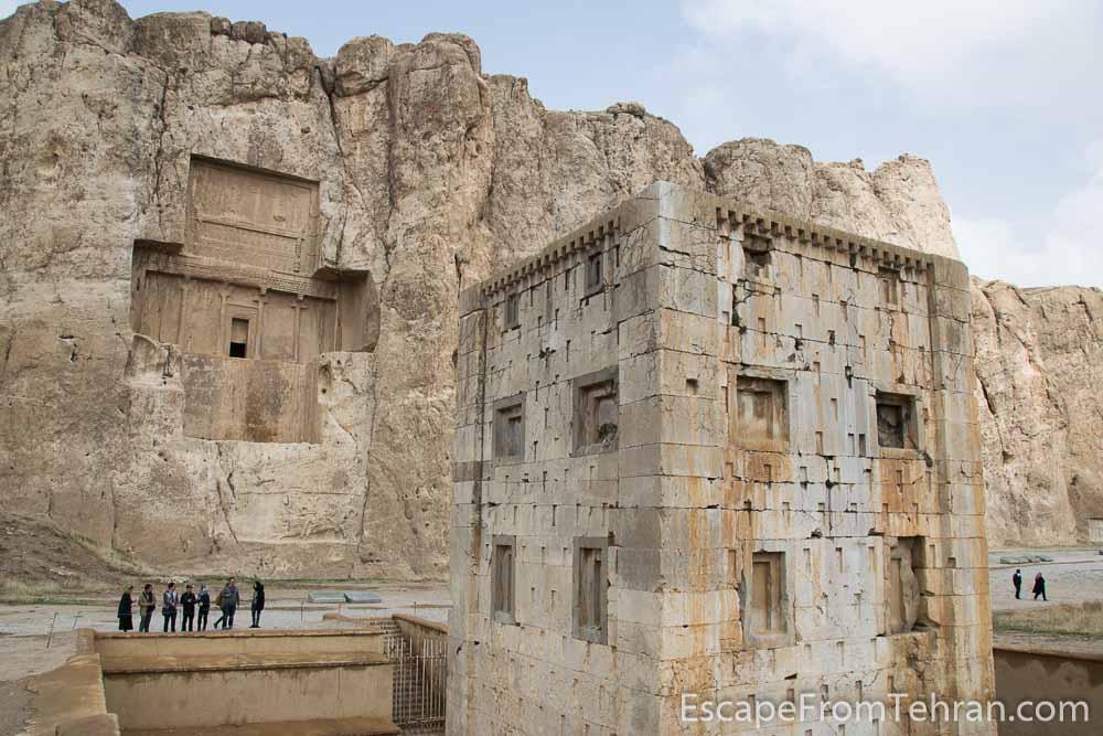 "Ka'ba-ye Zartosht (meaning the ""Cube of Zoroaster"") at Naqsh-e Rustam (Necropolis), near Persepolis, near Shiraz, Iran"
