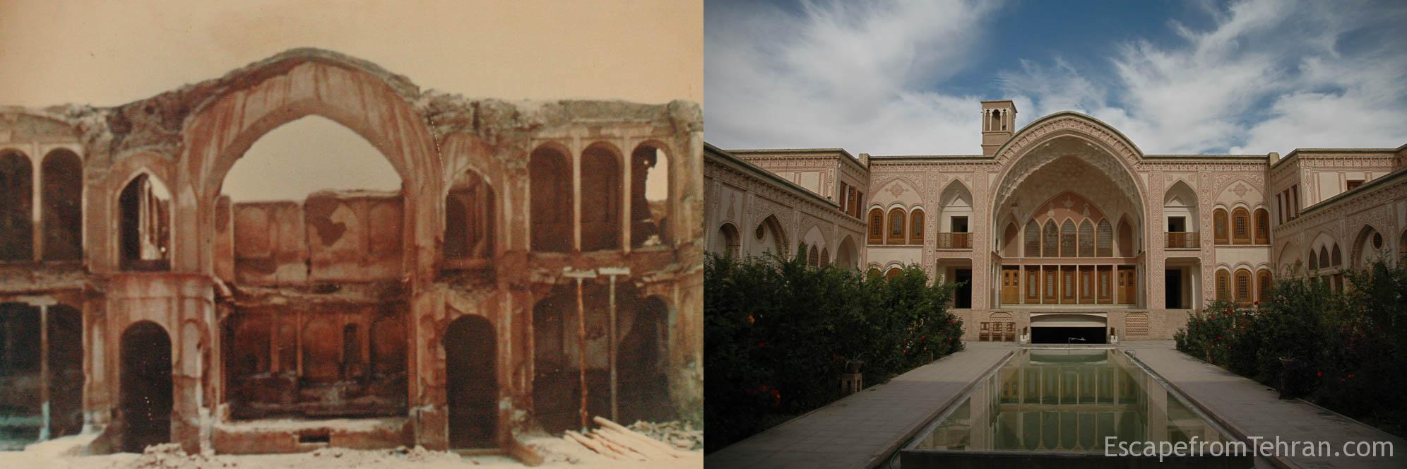 Before and after of Ameri House, the 230-year-old home of a former military commander based in Kashan, Iran.